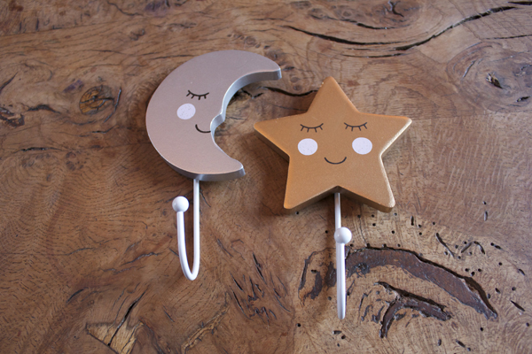 A Pair of Sleeping Moon & Star Coat Hooks